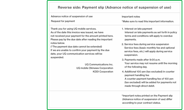 Reverse side: Payment slip (Advance notice of suspension of use)