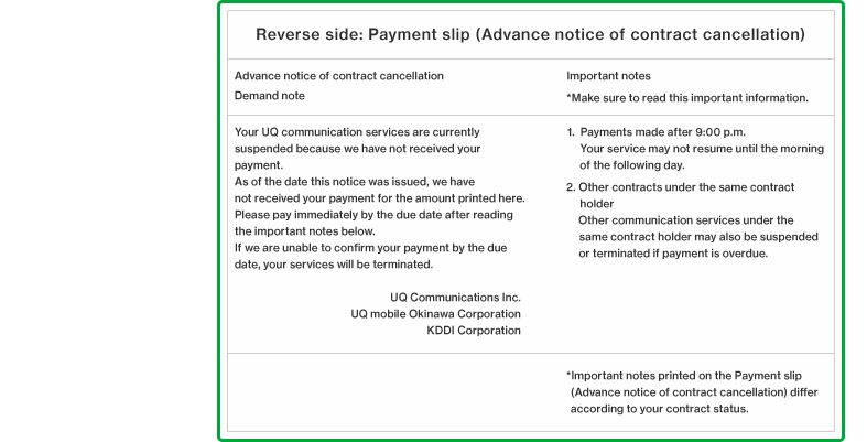 Reverse side: Payment slip (Advance notice of contract cancellation)