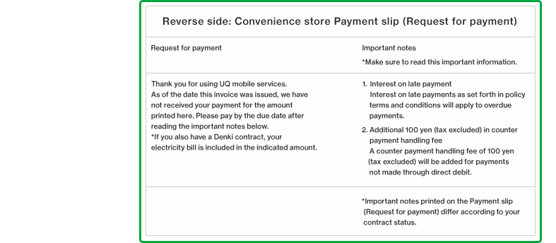 Reverse side: Convenience store Payment slip (Request for payment)