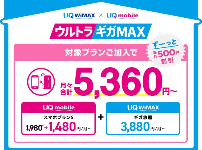 ウルトラギガMAX 対象プランご加入でスマホ料金が毎月ずーっと500円割引